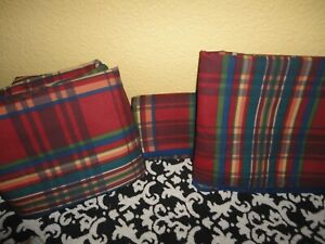 VINTAGE SPRINGMAID GEAR CLUB CLASSIC PLAID BLUE RED (6PC) TWIN FITTED SHEET SET