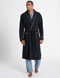 BNWT MENS M&S Navy Shawl Neck Fleece Dressing UK  Small    (ST)