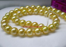 "AAAAA 18""9-10MM 100% real round natural south sea golden pearl necklace 14K GOLD"