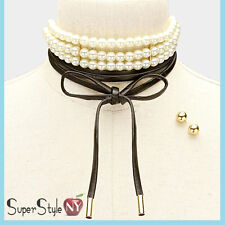 3 Row Wrap Gothic Tier Multi Pearl Layered Choker Necklace Earrings Faux Leather