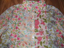 SUSAN BRISTOL womens top NWT floral PATCHWORK print 3/4 sleeves Sconset size M