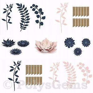 21 Piece Set Paper Wedding Table Decoration Flowers Branches Leaves Tags Twine