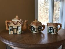 Vintage Ceramic Cottage House Teapot Sugar & Creamer Set Made in Japan Pottery