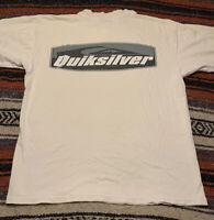 Vintage Quicksilver Logo White Tshirt Made in USA Single Stitch Size M