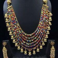 Ethnic Indian Necklace/Multicolored Long Necklace/Jhumki Bead Necklace Set