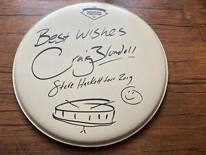 Steve Hackett: Craig Blundell 37cm 'Modern Vintage' Signed Drum Skin + Doodle!