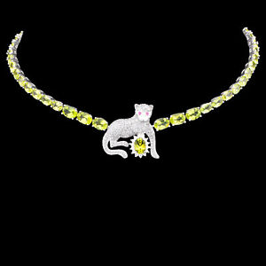 100% NATURAL 7X5MM PERIDOT & WHITE CZ TIGER DESIGN STERLING SILVER 925 NECKLACE