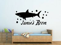 Personalised Kids Shark Wall Art Vinyl Sticker Boys Bedroom Decor
