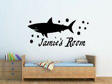Personalised Kids Shark Wall Art Vinyl Sticker Boys Bedroom Decor