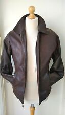 Pall Mall Leather Pilot Bomber Cargo Jacket Mens Brown Size S/Slim M