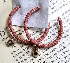 """Free People Hoop  Earring Blush Bead Seed Gold Shell Charm 2"""" Post Back NWT"""