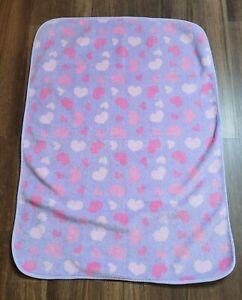 Koala Baby Purple Pink White Heart Fleece Baby Blanket Security Lovey 40x30