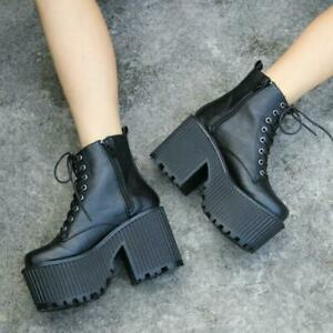 Punk Womens Gothic Platform High Block Heels Ankle Boots Lace Up Pumps Shoes new
