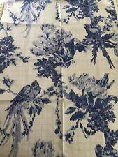 "Brunschwig & Fils Fabric FLEURY DELFT BLUE PORCELAIN Bird's COTTON 27X36"" New"