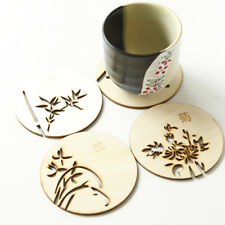 Chinese Flowers Wooden Carved Home Coasters Table Coffee Bar Cup Mat