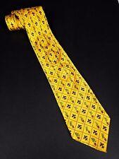 Walt Disney World Yellow Silk Tie Mickey Minnie Mouse Donald Goofy Fleur de Lis