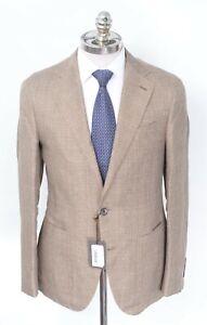 NWT CARUSO Brown Sharkskin Linen Wool Notch Lapel Sport Coat Blazer 40 R (EU 50)