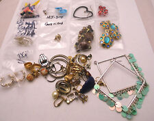 Mixed Lot of 45+ Earrings SINGLES & PAIRS USE or REPAIR Silver Tone & Gold Tone