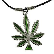 "Green Marijuana Weed Cannais 420 Pot Leaf Pendant 18"" Inch Black Cord Necklace"