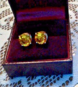 Chuck Clemency Kellie Anne 8MM Madeira Citrine 14K Yellow Gold Stud Earrings