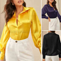Women's Collared Button Down Tops Satin Silk Solid Shirt Blouse Jumper Plus Size