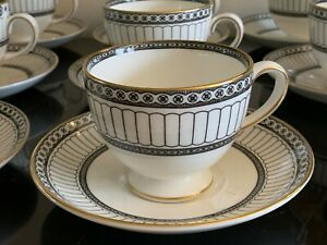 Wedgwood Colonnade Black Footed Cups and Saucers Set of 8