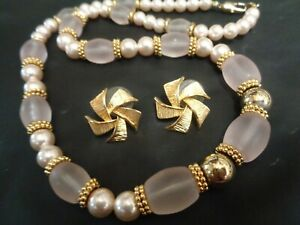 Vintage Clear Frosted Lucite Faux Pearl Gold Tone Beaded Necklace & Earrings