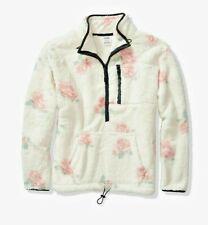 Victoria's Secret Pink Teddy Half Zip Pullover Coconut White Pink Floral