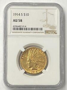 1914-S $10 Indian Head Pre-33 Gold Eagle NGC AU58 Nice Low Mintage 208,000