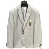 M&S COLLECTION Slim Fit Wool Blend Jacket in Light Grey Size 44 Long NEW RRP £79