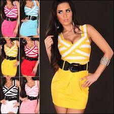 Women's Stretch, Bodycon Striped Polyester Above Knee, Mini Dresses