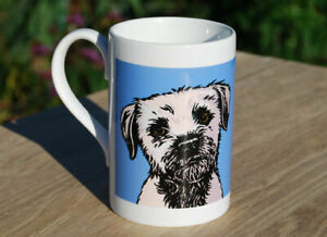 Border Terrier - single porcelain mug with original illustration.