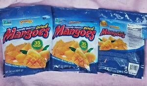 3 PACK PHILIPPINE NATURALLY DELICIUS  DRIED MANGOS, 30 OZ EACH FINEST MANGOES