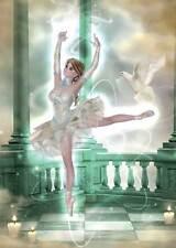 Classic Ballerina Birthday Card women & girls pirouette with dove magical green