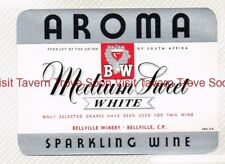 1940s SOUTH AFRICA Bellville Winery AROMA MEDIUM SWEET WHITE WINE Label