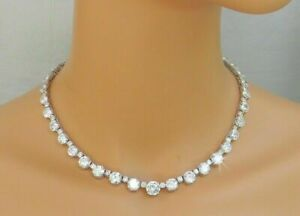 """925 SS 18.10 CT Round Cut Diamond Simple Tennis Necklaces 16"""" 14K White Gold FN"""