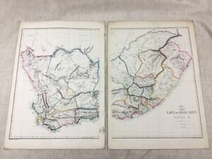 Antique Map of South Africa Cape of Good Hope Natal Hand Coloured 19th Century