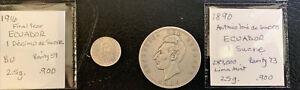 Ecuador 1890 1 Sucre & 1916 1/10 Sucre / Beautiful .900 Silver  & *No Reserve!