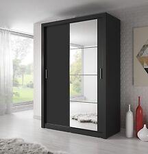Brand New Modern Bedroom Mirror Sliding Door Wardrobe ARTI 6 120cm in Black Matt