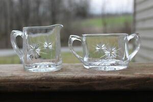 Vintage Clear  Glass Creamer And Sugar Set Bethlehem Star Pattern