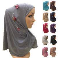 One Piece Amira Women Hijab Headscarf Islamic Flower Cap Cover Turban Head Wrap
