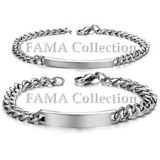 Quality FAMA Stainless Steel Couples Bracelets with Engravable ID Plate