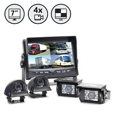 """4 Camera Backup System With 7"""" TFT LCD Quad Split Screen Weatherproof"""