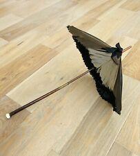 Antique Victorian Mourning Parasol Ruffled Dark Green Silk Wood Handle Folding