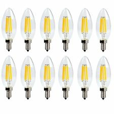 LUXON 6W torpedo shaped LED light bulb for chandelier candelabra 2700k (12 PACK)