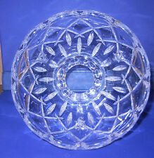 CRYSTAL GLASS TABLE NIGHTSTAND LAMP SHADE RECESSED DESIGN SCALLOPED TOP & BOTTOM