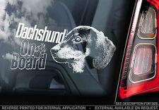 Dachshund - Car Window Sticker - Dog on Board Sign, Short-Haired Teckel - TYP2