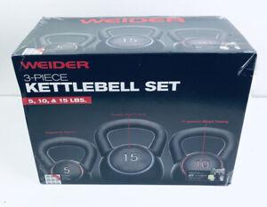 NEW Weider Training Kettlebell Set includes 5lb 10lb 15lb 3 Piece Set 30lb Total