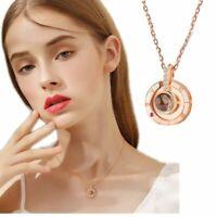 925 Silver 100 languages I love you Projection Pendant Necklace Women Romantic