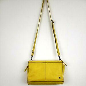 The SAK Leather Crossbody Bag Clutch Shoulder Purse Yellow Iris Demi 105073